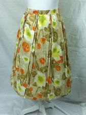 Handmade 1960s Vintage MCM Multi Floral Watercolor Pleated Skirt XS S AWESOME