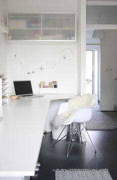 Monochrome Style in a Dutch Family Home. Great desk!