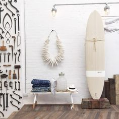 The ultimate summer essential - custom made surfboards by Byron Bay based McTavish Surf I designed 6 for my Nomad range using Australian textile designers for the underside inlay Photo taken at my shop The Society inc in Sydney Style Californien, Surfboard Decor, Surf Decor, Surfboard Storage, Surf House, Painted Front Doors, Interior Paint Colors, Interior Painting, Purple Interior