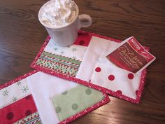 Christmas Brights Quilted Mug Rugs with Cookie Pockets Set of 2
