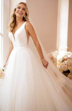 Dreamlike White Wedding Dress,Simple V-Neck Bridal Dress,Lawn Wedding Dress