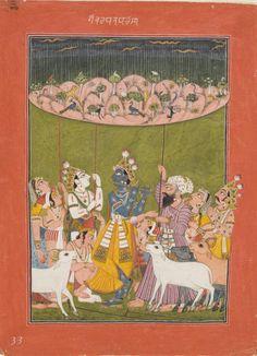 Krishna Lifts Mount Govardhana