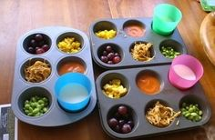 Muffin Tin Meals! These work great for picky eaters. by sondra