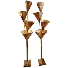 Rare pair of 1970's Gingko Biloba floor lamps by Tommaso Barbi | From a unique collection of antique and modern floor lamps  at http://www.1stdibs.com/furniture/lighting/floor-lamps/