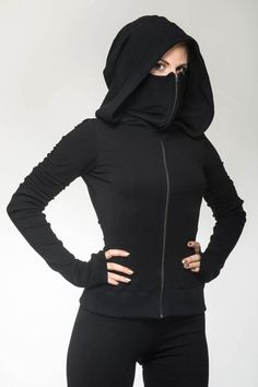Aramaki Hood - ᴇᴍᴍᴀ - Aramaki Hood Lenzing Modal Gothic Eco-Hoodie with extended collar and fitted waist made by Ritual. Hand-crafted by artisanal tailors out of sustainable modal farnbr - Mode Outfits, Fashion Outfits, Fashion Trends, Fashion Ideas, Fashion Shirts, Fashion Clothes, Trendy Outfits, Fast Fashion, Womens Fashion