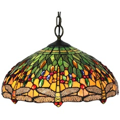 "Tiffany style dragonfly 18""W x 7.85""H, 2 60W, pull chain switches, contains 408 hand-cut pieces of glass wrapped in copper foil. This lamp also features an array of vibrant colors and and 175 stunning jewels. Predominantly green and yellow. $142.99"