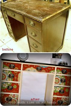 source: too-much-time.com  Desk before and after:there's no wonder furniture rehabbing is such a passion for many of us when you can find treasures like this one and fabulous fabric remnants. I just love the effect these decoupaged drawer fronts give off against the calming cream and dark hardware. I have officially been inspired! (stay tuned!)