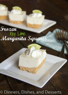 Frozen Creamy Key Lime Margarita Squares recipe from Dinners, Dishes, and Desserts. Perfect for summer. Frozen Desserts, Frozen Treats, Just Desserts, Delicious Desserts, Dessert Recipes, Yummy Food, Sweet Desserts, Sweet Recipes, Coconut Lime Margarita Recipe