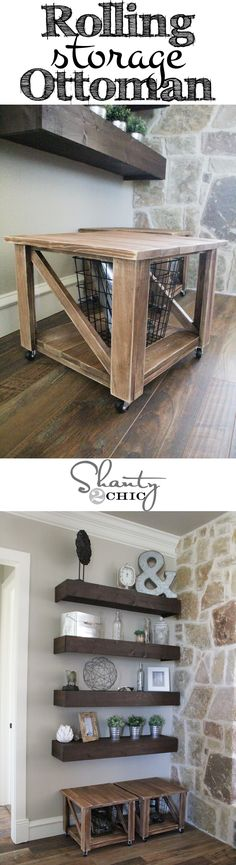 DIY Rolling Storage Ottoman with free plans! Diy Wood Projects, Diy Furniture, Woodworking Plans Diy, Diy Storage, Diy Storage Bench, Rolling Storage, Diy Shelves, Diy Storage Ottoman Coffee Table, Diy Kitchen