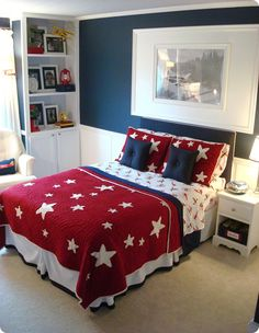 A big boy airplane room reveal! from Thrifty Decor Chick Blue Master Bedroom, Bedroom Red, Kids Bedroom, Bedroom Decor, Kids Rooms, Toddler Rooms, Trendy Bedroom, Bedroom Colors, Boys Bedroom Ideas 8 Year Old