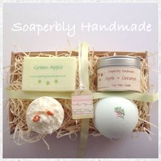 Gift hamper, Apple and cinnamon fragrance, gifts for women, gift ideas, bath and beauty by SoaperblyHandmade on Etsy