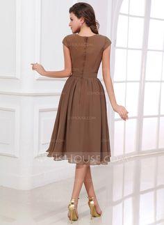 A-Line/Princess Scoop Neck Knee-Length Chiffon Bridesmaid Dress With Bow(s) (007017303)