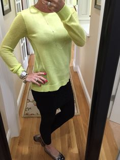OOTD...CAbi Spring '15 Split Back Pullover, M'Leggings and Fall '14 Wear With All Cami. #cabiclothing www.nancydowning-schloss.cabionline.com  Super comfy and on trend with our fabulous highlighter yellow Splitback Pullover.  Did you happen to see it featured in O Magazine a couple of months ago??!!