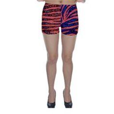 Florescent Orange Blue Zebra Abstract Skinny Shorts by OCDesignss Skinny Shorts, Orange, Abstract, Blue, Design, Fashion, Summary, Moda, Fashion Styles