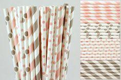 Pink and Grey Paper Straw Mix-Light Pink Straws-Gray Straws-Striped Straws-Polka Dot Straws-Wedding Straws-Shower Straws-Party Straws
