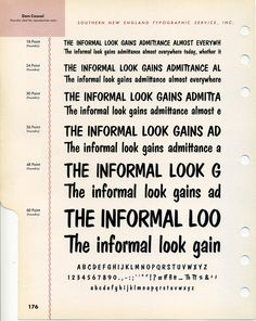 Pete Dombrezian designed Dom Casual. It was intended for use as a photo typesetting font, but was released as metal type in 1952. Buy Dom Ca...