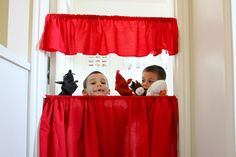 delia creates: tension rod puppet show