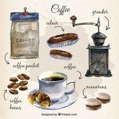 Mão pintado coleção de elementos do café