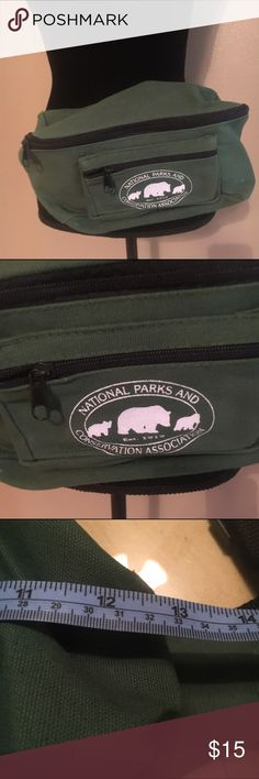 National parks and recreation conservation fanny Fanny bum belt bag. Canvas army green color. Has minor wear on corners.  This bag will be perfect for camping , hiking , fishing , traveling with kids. Or. Concerts , festivals and parties on the beach Bags Mini Bags