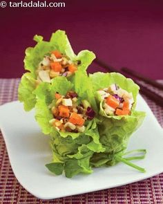 Lettuce Wraps ( Exotic Diabetic Recipe )   Main Course recipes   Delicious Diabetic recipes   Health   Tarladalal.com