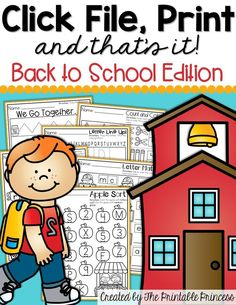 FREEBIE!!! A collection of Back to School NO PREP printables for Kindergarten.
