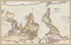 Antique Upside Down World Wall Map by Wise Guy Network from Maps.com.