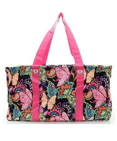 NEW HOT!! BUTTERFLY FLORAL LARGE UTILITY BAG SHOPPING BAG TOTE HOT PINK