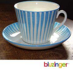 1950's Modern Blue Zebra Gefle Upsala Ekeby Cup Saucer Eugene Trost Sweden | eBay
