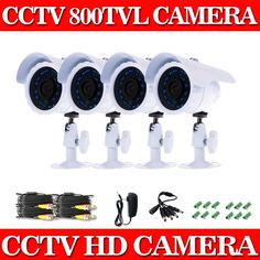 101.38$  Watch now - http://alicjt.worldwells.pw/go.php?t=32346393759 - Home 800TVL 4pcs/lot CCTV Home Security Camera System 24PCS LEDs Outdoor Waterproof Day/Night IR Video Surveillance Camaras Kit 101.38$