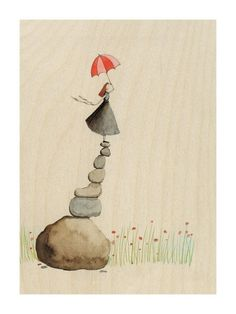 Equilibrium. #art #illustration #girl #umbrella #rocks