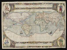 World--Le Clerc, Jean NOVA UNIVERSI ORBIS DESCRIPTIO. PARIS, 1602, DOUBLE-PAGE ENGRAVED WORLD MAP ON AN OVAL PROJECTION AFTER ORTELIUS, MEDALLIONS AT EACH CORNER REPRESENTING THE CONTINENTS, CONTEMPORARY HAND COLOUR, 340 X 473MM., A FEW REPAIRED TEARS, SLIGHT LOSS