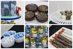 Knights and Dragon cupcake tower dessert buffet by Simply Sweets, via Flickr - LIKE the idea of chocolate pretzels being lances@!