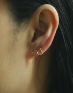 14K Solid Gold Earring, Cartilage Hoop Earrings,Cartilage Earrings,Nose Ring,piercing earring,Tiny Cartilage,Helix,Tragus,Ear Lobe by TakeOnMe7 on Etsy