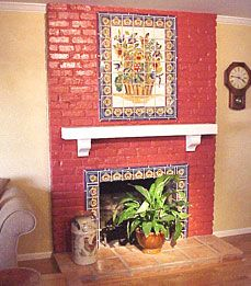Decorative accents & mantel trimmed with ##Mexican talavera tiles ...