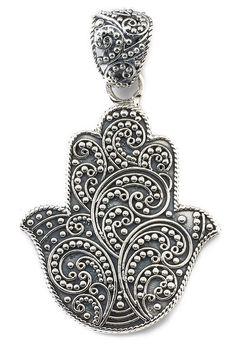 Image of Samuel B Jewelry Sterling Silver Hamsa Pendant