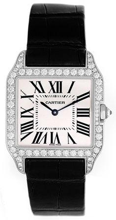Cartier Santos Dumont 18k White Gold & Diamond Mens/Ladies Watch WH100251