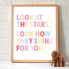 Look at the Stars Nursery Print by EvietheElephant on Etsy,