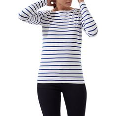 Buy Jigsaw Retro Stripe Jersey Top, Pacific Blue, XS Online at johnlewis.com