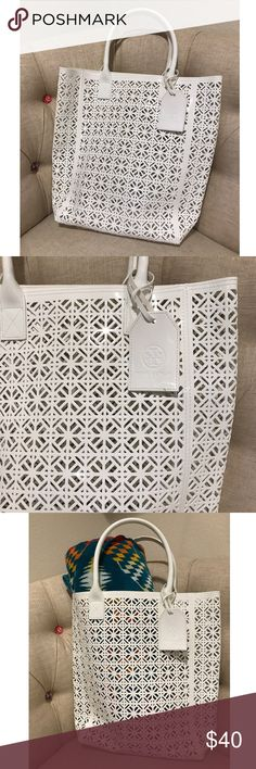 Tory Burch White Beach Bag 🌴🐚 Authentic Tory Burch cut out tote that makes the perfect beach or pool bag. It's large enough for our your essentials: towel, sunglasses, sunscreen and a good book. I used it once for a pool party (less than 3 hours), it looks as good as new. ❌ No Trades ❌ Tory Burch Bags Totes