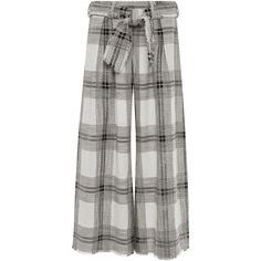 Zimmermann Empire Raw Cotton and Linen Plaid Lounge Pants (4,260 EGP) ❤ liked on Polyvore featuring pants, cotton linen pants, plaid trousers, wide-leg pants, relaxed fit pants and boho pants