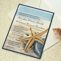 Starfish Wedding Invitation, Beach Wedding Invitation, Sample on Etsy, $5.10