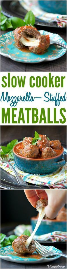 Slow Cooker Mozzarella-Stuffed Meatballs are a healthy and easy clean eating dinner for the Crock Pot! No need to turn on the oven or brown the meat in a skillet -- everything cooks in the pot! This is the ultimate family-friendly comfort food, and these are gluten free meatballs, too!