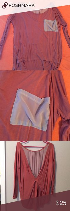 Long Sleeve, Burnt Orange blouse. Long sleeve over sized blouse/top. Chiffon cream pocket in the front. Small hole on shoulder. Beautiful burnt orange color. Lush Tops Blouses