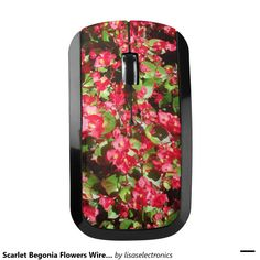 Scarlet Begonia Flowers Wireless Mouse