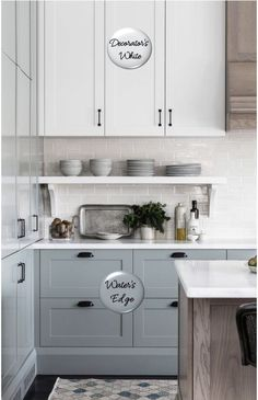 Kitchen Decor IdeasTwo-toned painted cabinets in the kitchen are a hot trend that is here to stay! Here are some timeless paint color combos to consider for your kitchen to break up an all white kitchen. White and medium blue kitchen cabinets. Kitchen Cabinets Color Combination, Two Tone Kitchen Cabinets, Kitchen Cabinet Colors, Kitchen Redo, Kitchen Layout, Rustic Kitchen, White Cabinets, Kitchen Modern, Two Toned Kitchen