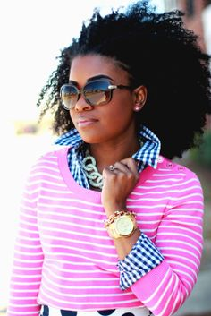 Awesome naturalista! Outfit: Navy & Pink in Polka dots, Stripes, and Gingham