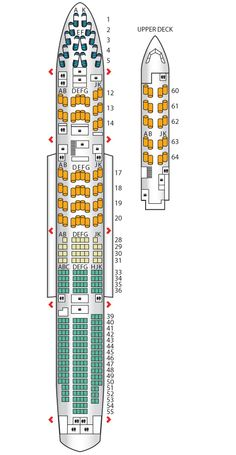 Seat plan for the #BritishAirways B747-400 High J