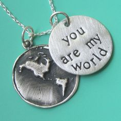 You Are My World Necklace by sudlow on Etsy, $48.00
