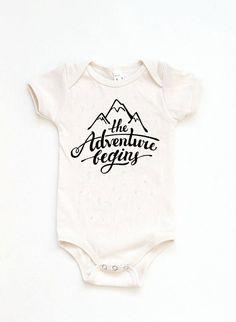 Newborn Photo Prop Mountain Bodysuit Adventure Begins Natural Onesie Gender Neutral Baby Gift B Neutral Baby Clothes, Organic Baby Clothes, Gender Neutral Baby, Baby First Outfit, Baby Boy Outfits, Baby Unisex, New Born Boy, Newborn Onesies, Baby Onesie