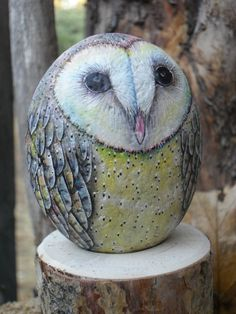 Mini+Barn+Owl+OOAK+Rock+Sculpture+by+CCRockCreations+on+Etsy